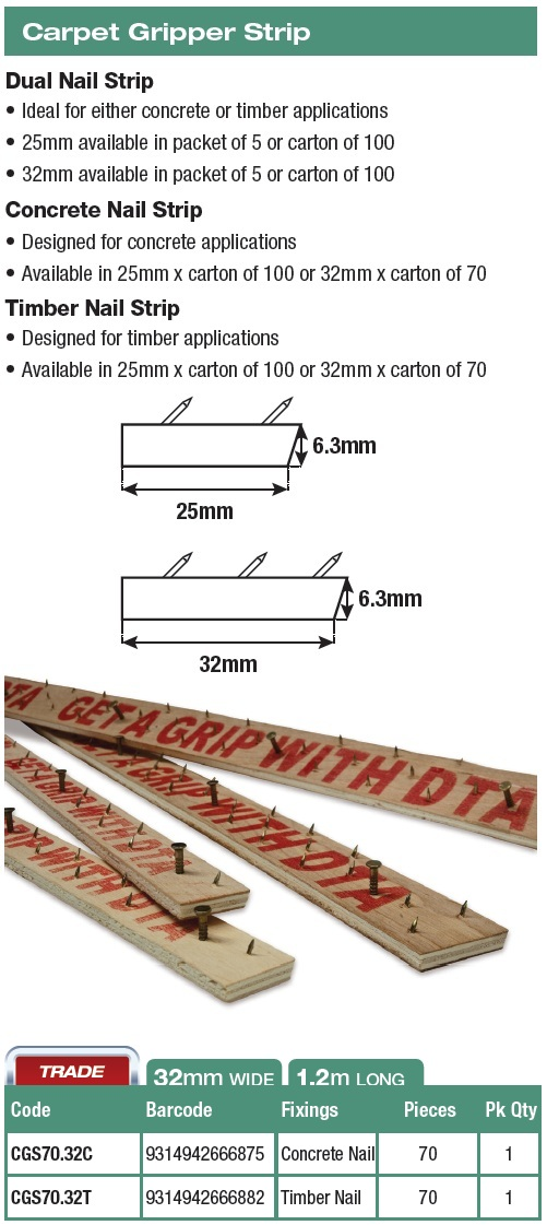 Dta Australia Carpet Gripper Strip X 70pcs Timber Nails